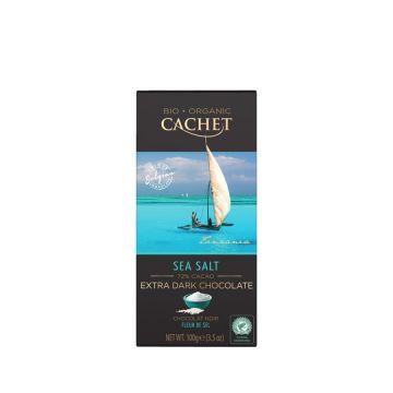Chocolade puur 72% zeezout 100gr Cachet