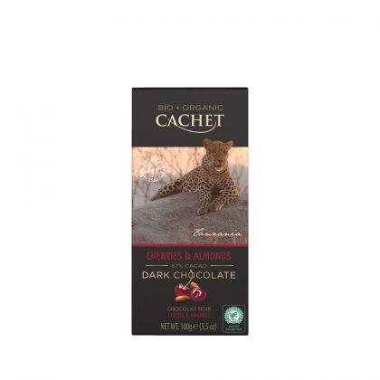 Chocolade puur kers/amandel 100gr Cachet