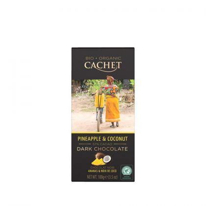 Chocolade puur kokos/ananas 100gr Cachet