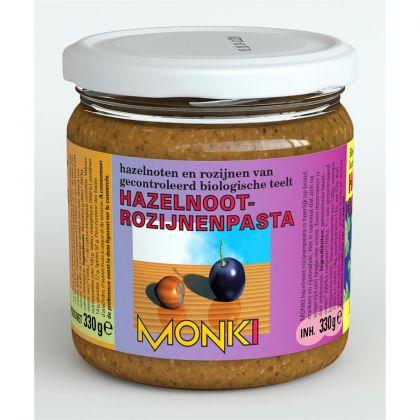 Hazelnoten-rozijnenpasta 330gr Monki