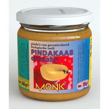 Pindakaas crunchy met zout 330gr Monki